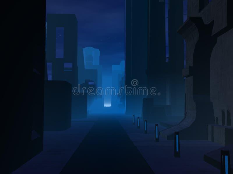 Miasto przy noc ilustracji