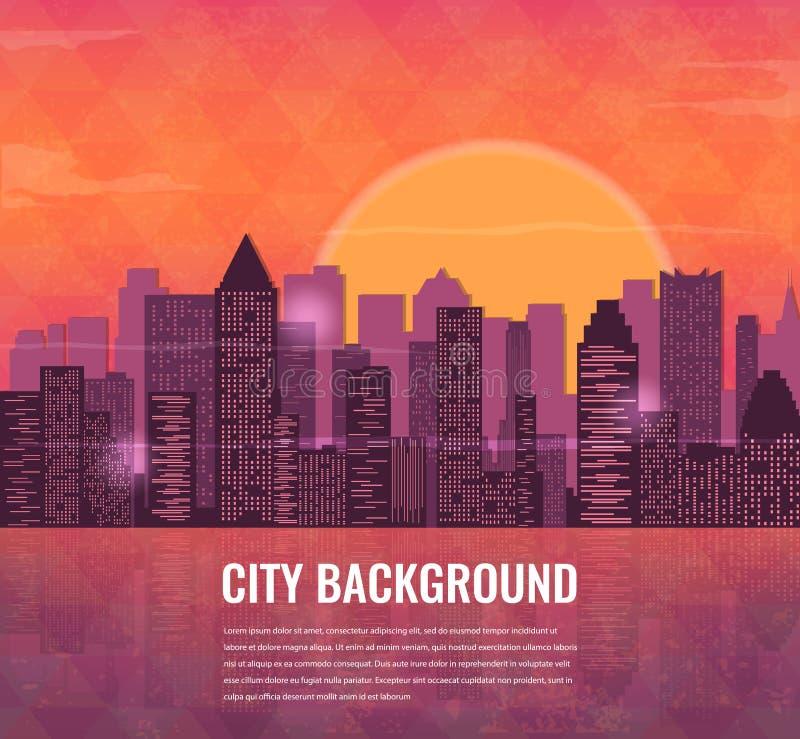 Miasto przy zmierzchu tłem miejski krajobrazu wektor royalty ilustracja