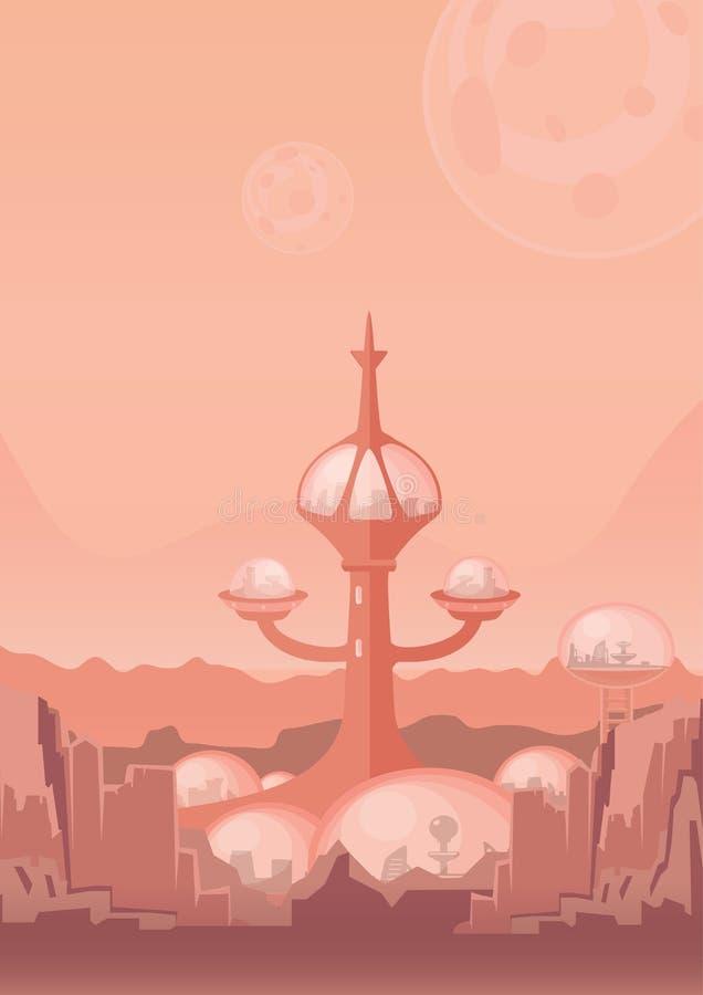 Miasto przyszłość, astronautyczna kolonia Ludzka ugoda z futurystycznymi budynkami na Mars również zwrócić corel ilustracji wekto ilustracji