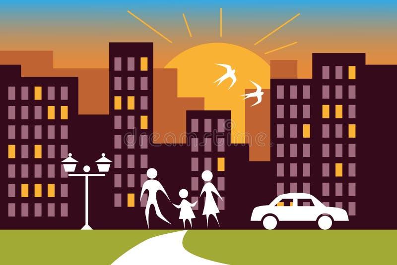 Miasto rodzina i wschód słońca ilustracji