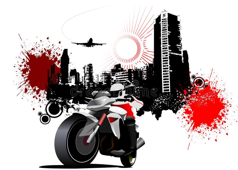 Miasto rowerzysta na grunge miastowym tle royalty ilustracja