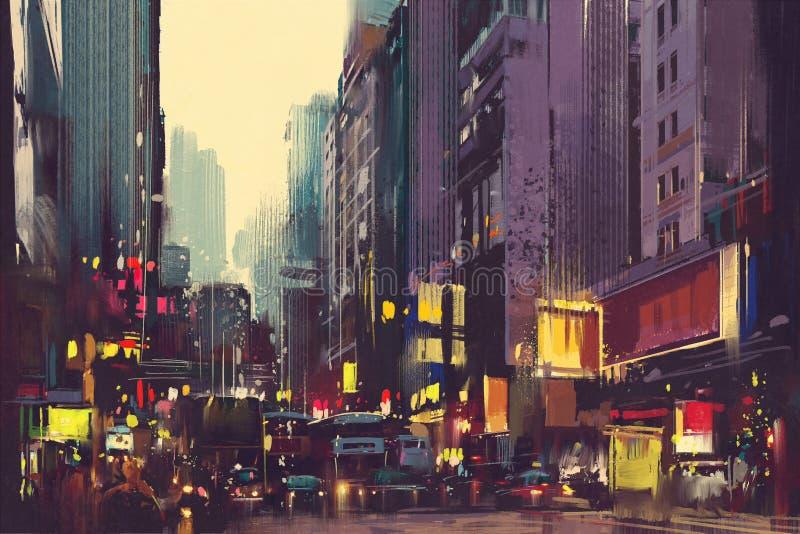 Miasto ruch drogowy i kolorowy światło w Hong Kong fotografia stock