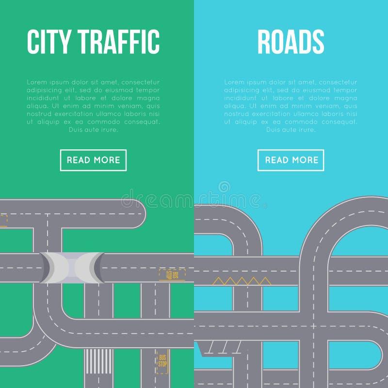 Miasto ruchu drogowego pionowo ulotki z autostrad drogami ilustracja wektor
