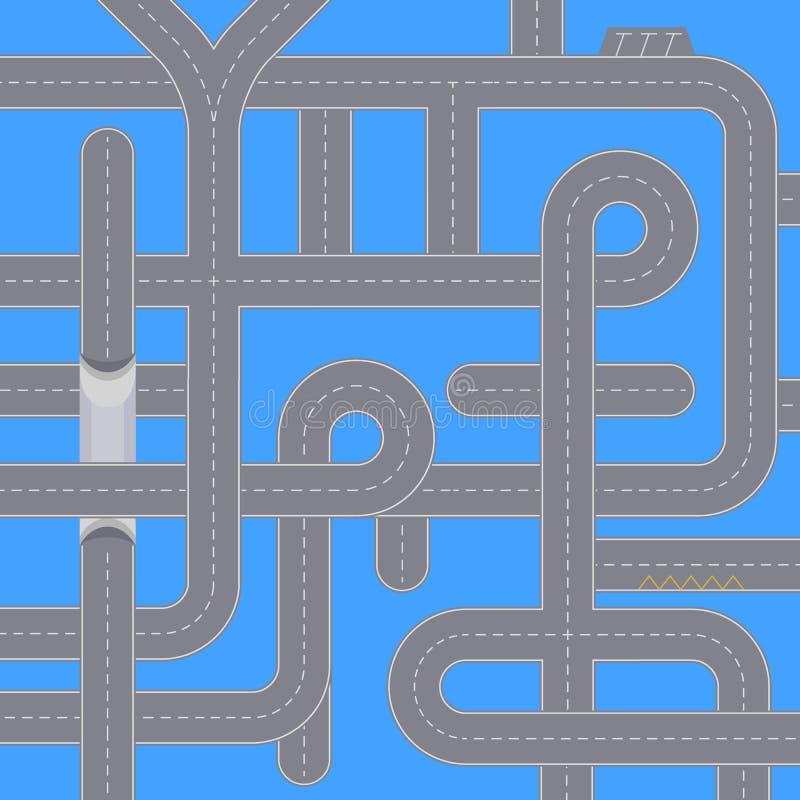 Miasto ruchu drogowego tło z autostrad drogami ilustracja wektor