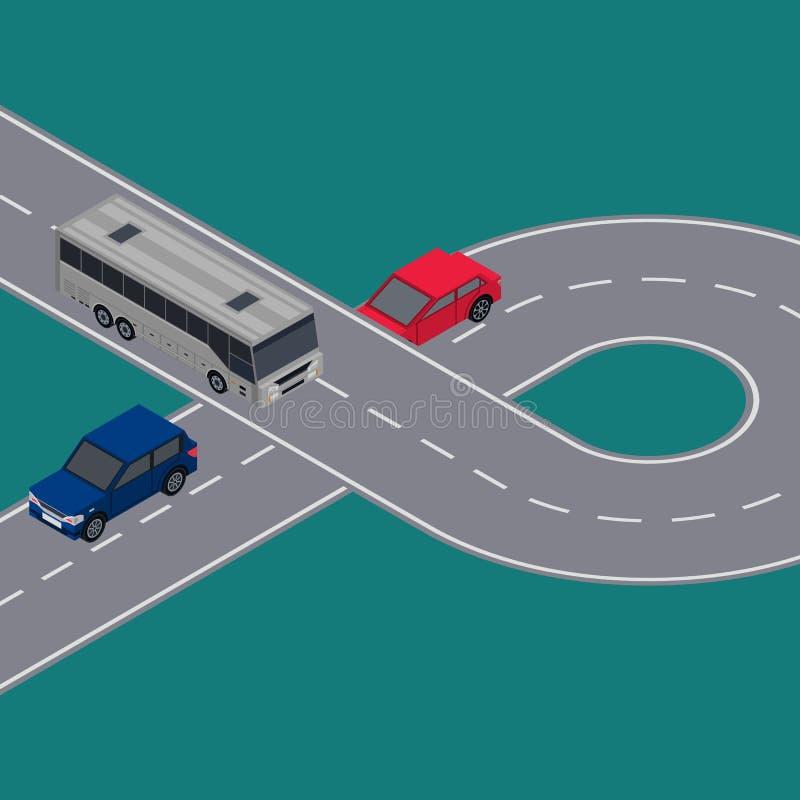 Miasto ruchu drogowego ulotki z samochodami w drodze dzwonią royalty ilustracja