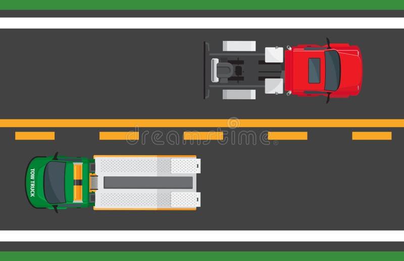 Miasto ruchu drogowego Wektorowy pojęcie z samochodami Na autostradzie royalty ilustracja