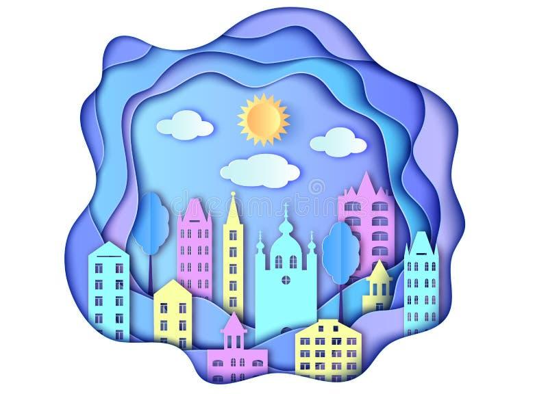 Miasto, słońce i chmury, ilustracja wektor