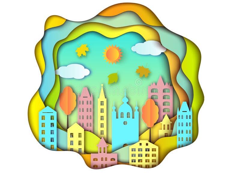Miasto, słońce i chmury, royalty ilustracja