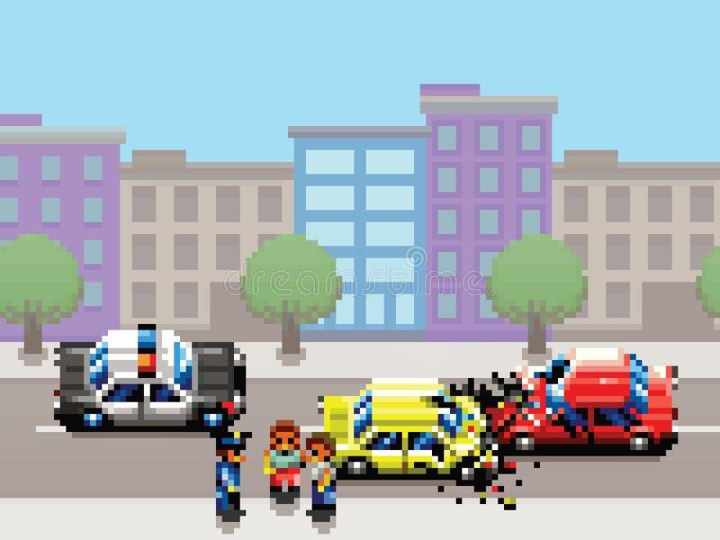 Miasto samochodowy karambol, samochód policyjny i ludzie piksel sztuki gry, projektujemy ilustrację ilustracji
