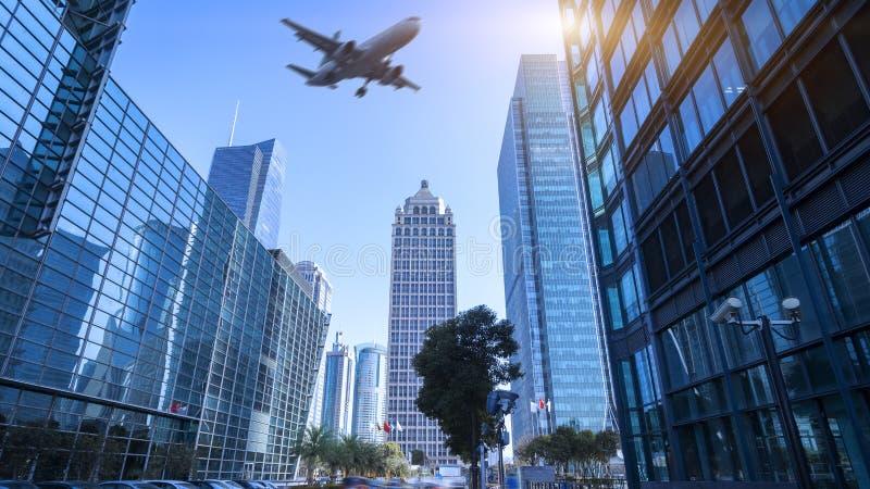Miasto samolot i budynki obraz stock