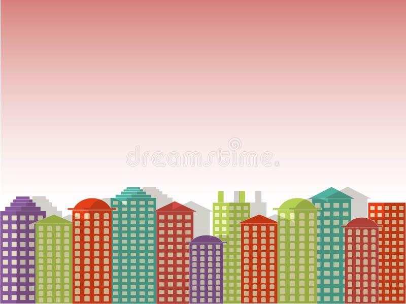 Miasto serii tło Kolorowi budynki, różowy jaskrawy jasny niebo, zmierzch, wschód słońca, ranek, wektor royalty ilustracja