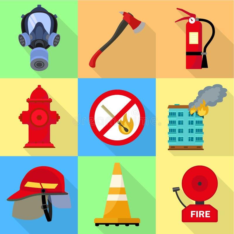 Miasto strażaka ikony set, mieszkanie styl ilustracji