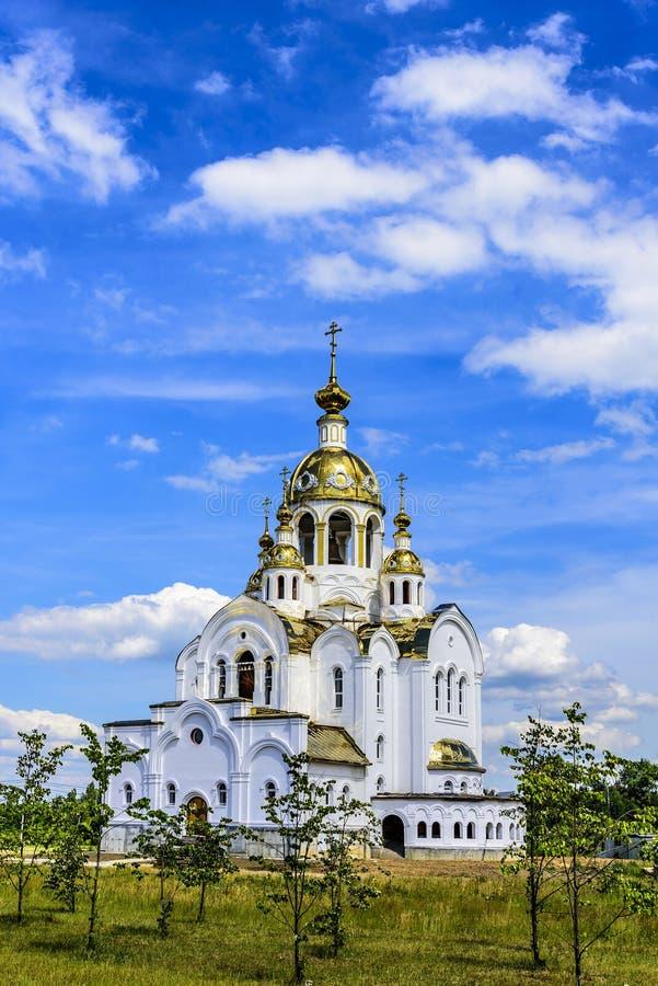Miasto Stupino Ortodoksalny kościół Wszystkie święty w ziemi która błyszczał Rosja przypuszczenia katedralna dmitrov Kremlin Mosc zdjęcie royalty free
