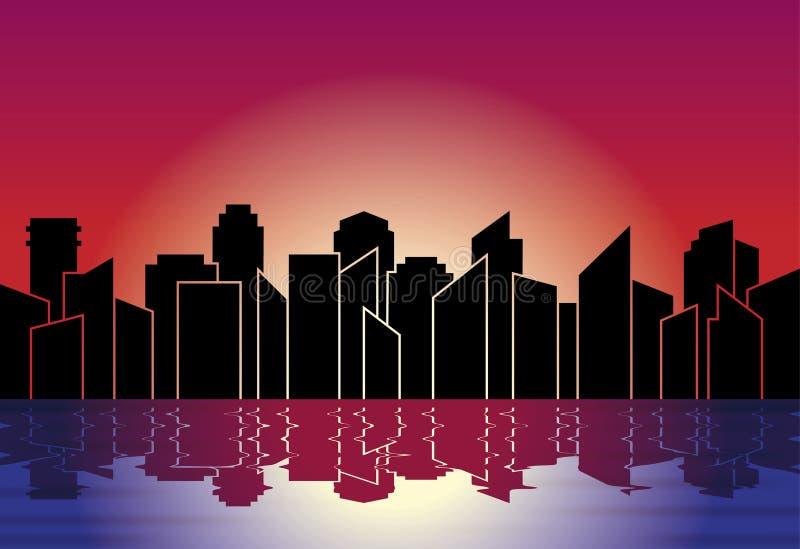 Miasto sylwetka Linia horyzontu przy nocą w zmierzchu, z odbiciem w wodzie również zwrócić corel ilustracji wektora ilustracji