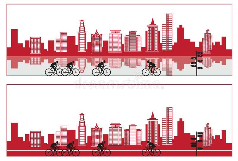 Miasto sylwetka z rowerem i odbiciem ilustracja wektor
