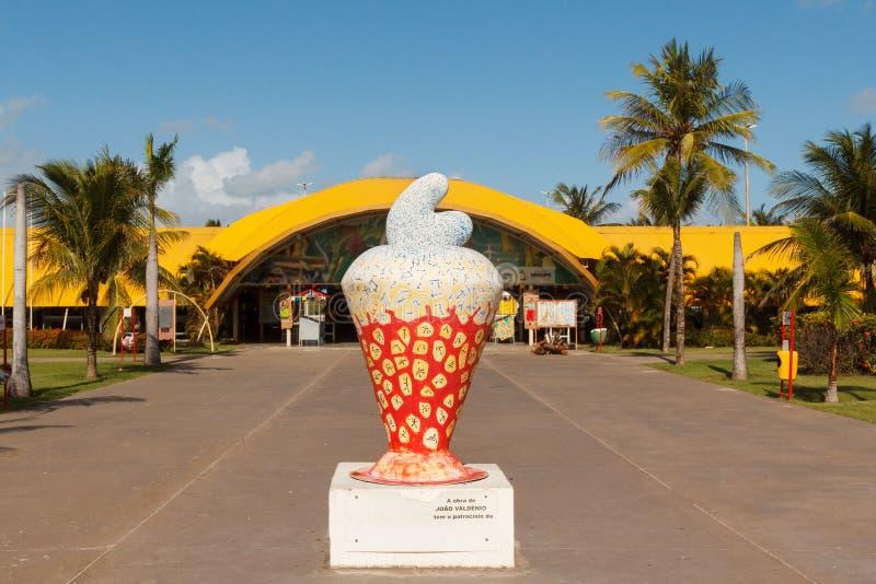 Miasto symbolu nerkodrzew na plażowym Atalaia, Aracaju, Sergipe stan, stanik obraz stock