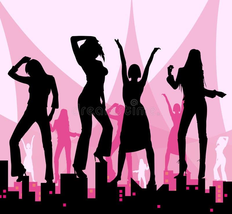 miasto tańczące dziewczyny ilustracja wektor