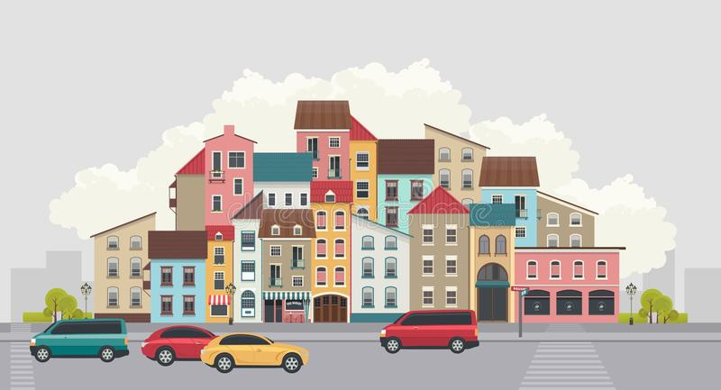 Miasto ulica horyzontalna ilustracji