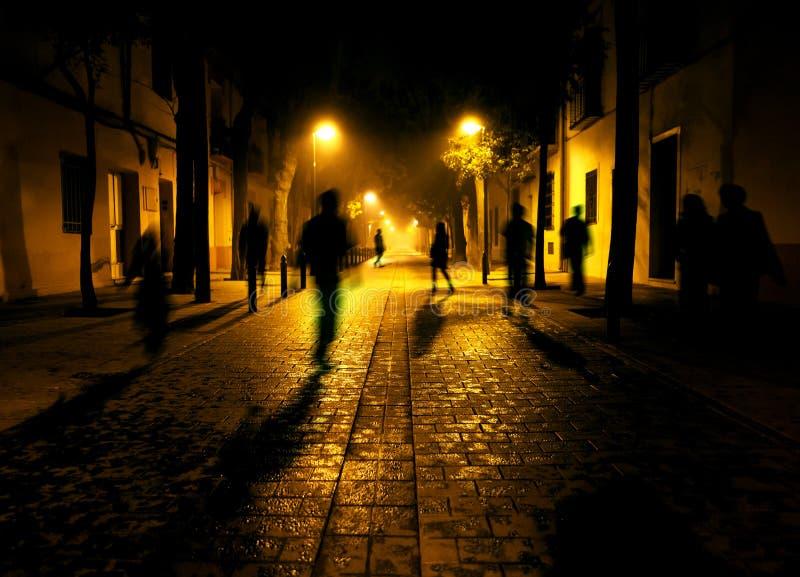 Miasto ulica przy nocą ilustracja wektor