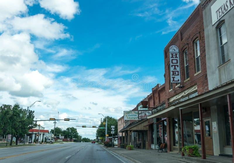 Miasto ulica w miasteczku Clarksville w Teksas Małomiasteczkowy życie w usa zdjęcie stock