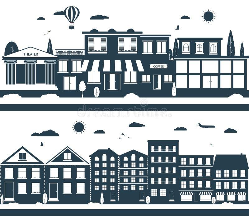Miasto ulicy w biel kolorach i zmroku royalty ilustracja