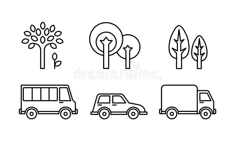 Miasto uliczni elementy ustawiają, miastowy transport i drzewo liniowa wektorowa ilustracja na białym tle ilustracja wektor