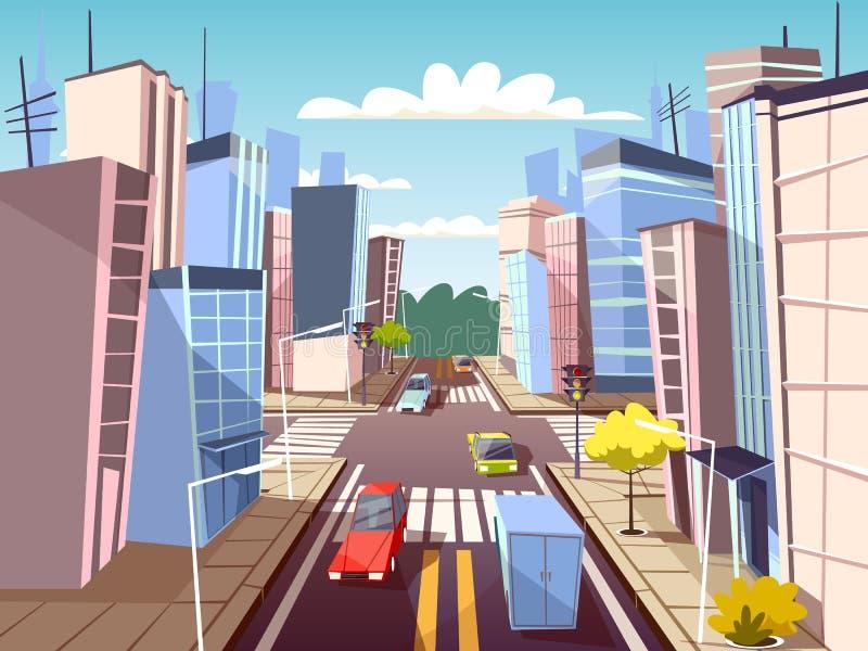 Miasto ulicznych samochodów kreskówki wektorowa ilustracja miastowego transportu ruchu drogowego pas ruchu i pieszy crosswalk z o ilustracja wektor