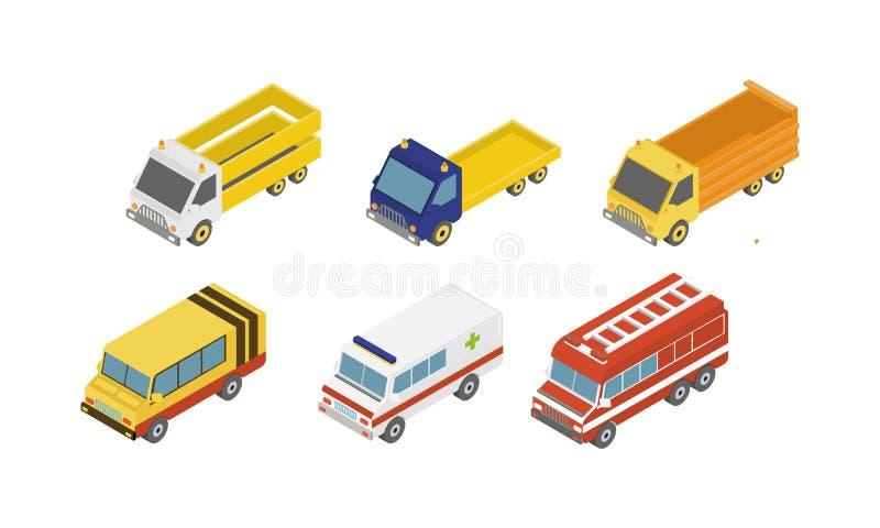 Miasto usługowi samochody ustawiający, karetka, ogień, śmieci, dostawa, ładunek ciężarowa wektorowa ilustracja na białym tle ilustracja wektor