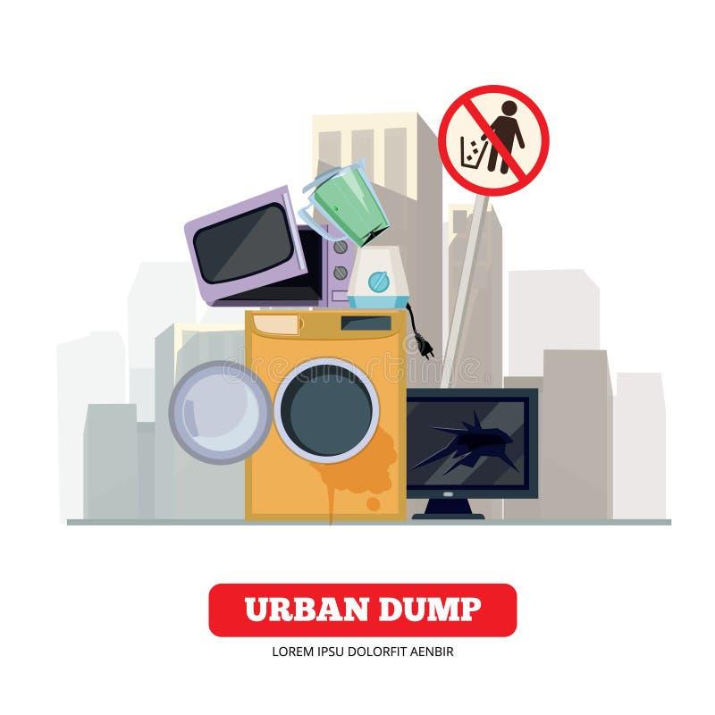 Miasto usyp Urządzenie śmieci od łamanego kuchni i gospodarstwa domowego sprzętu elektronicznego przetwarza proces wektorowego po ilustracji