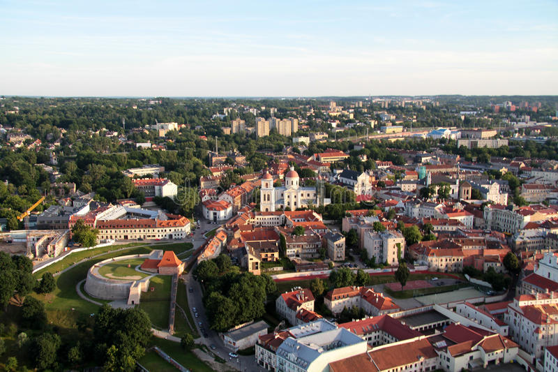 Miasto Vilnius & x28; Lithuania& x29; , widok z lotu ptaka fotografia royalty free
