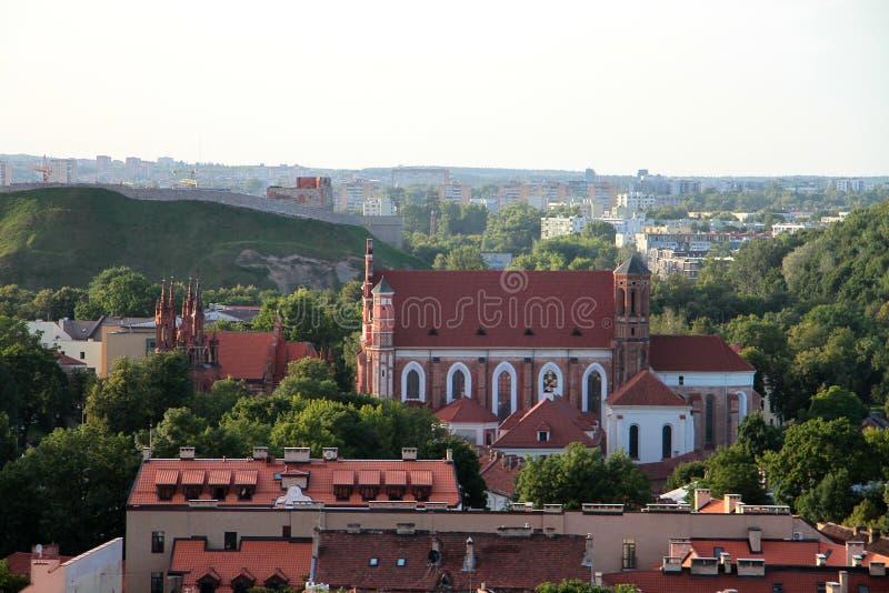 Miasto Vilnius & x28; Lithuania& x29; , widok z lotu ptaka zdjęcie stock