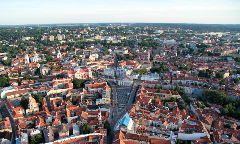 Miasto Vilnius Lithuania, widok z lotu ptaka obraz royalty free