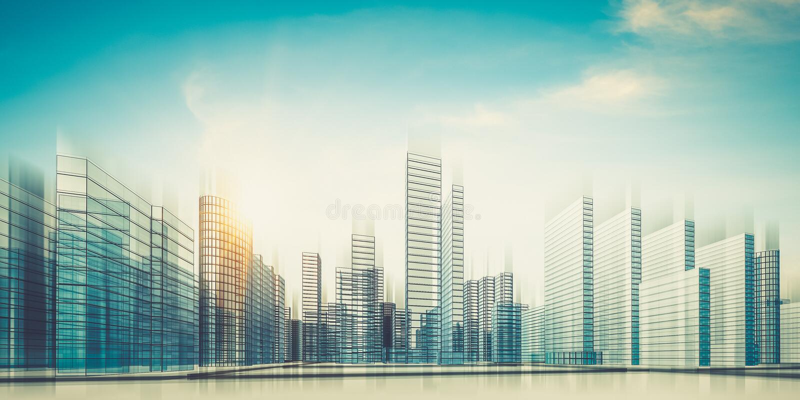 Miasto w chmur 3d renderingu ilustracji