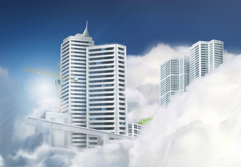 Miasto w chmurach, wektorowa ilustracja ilustracji