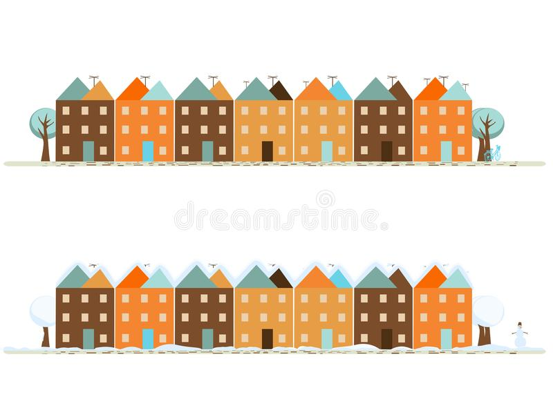 Miasto w lecie i zimie royalty ilustracja