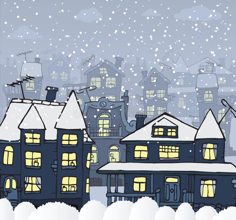 Miasto w nocy (zima) ilustracji