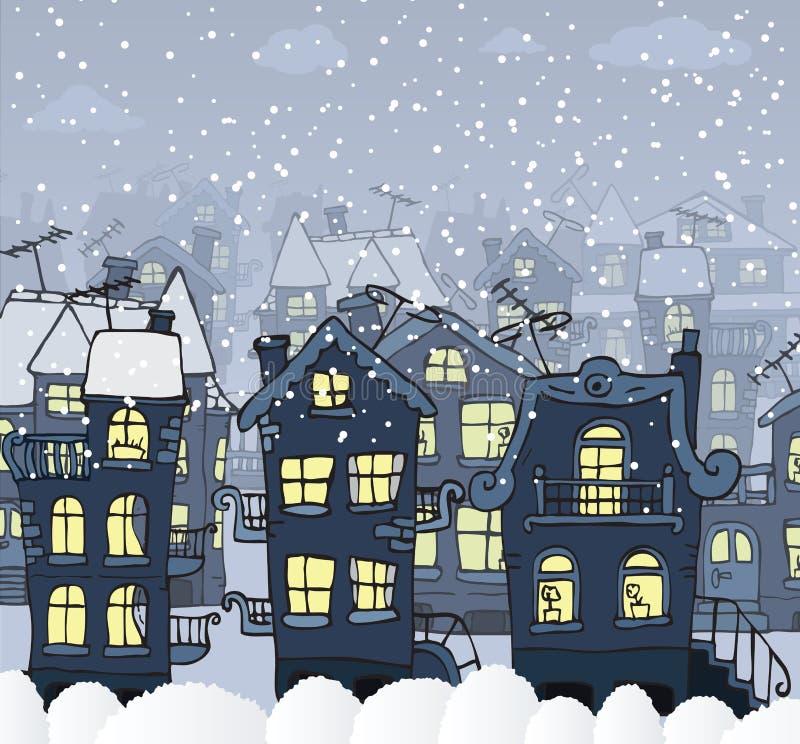 Miasto w nocy (zima) ilustracja wektor