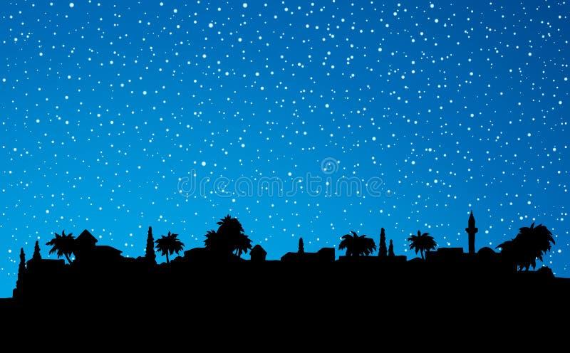 Miasto w pustyni rysuje tła trawy kwiecistego wektora ilustracja wektor