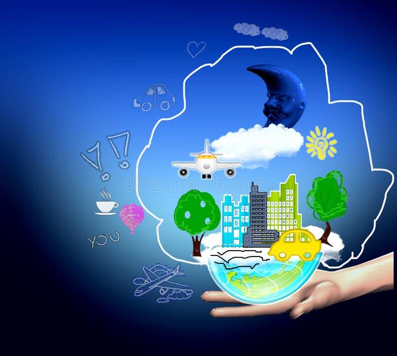Miasto w ręce ilustracji