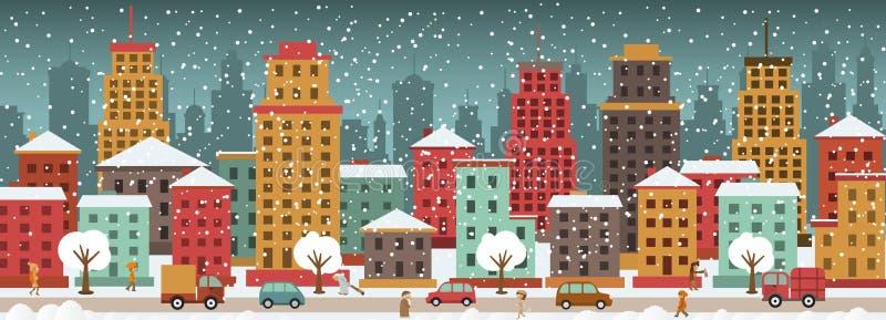 Miasto w zima dniach royalty ilustracja