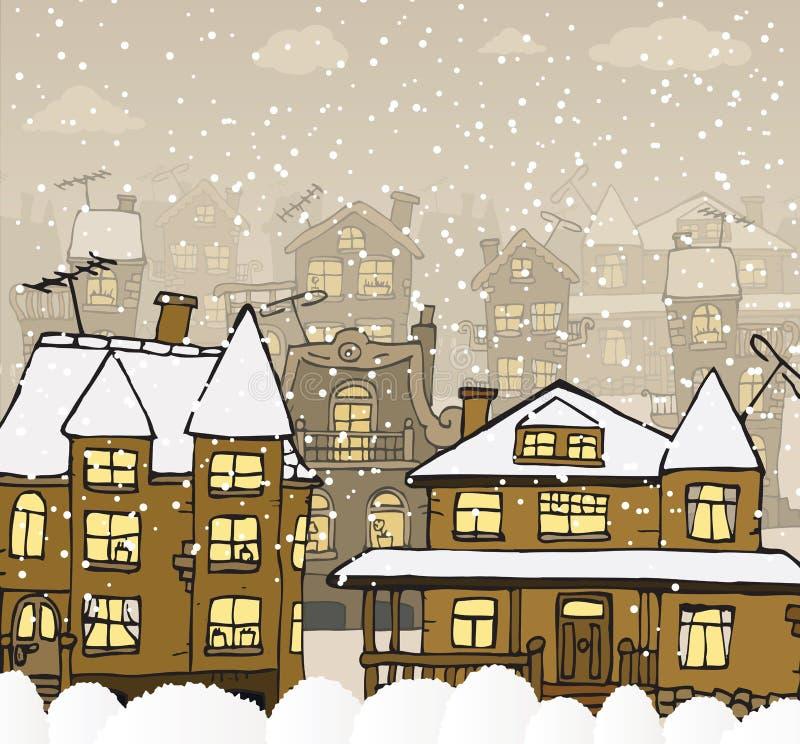 Miasto w zimie royalty ilustracja