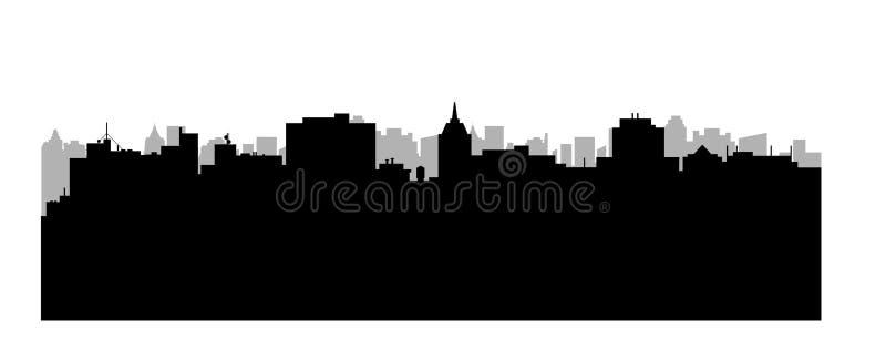 Miasto wektorowa sylwetka Pejzaż miejski tło Ilustracja architektoniczny budynek w panoramicznym widoku miasto nowoczesnej linia  ilustracja wektor