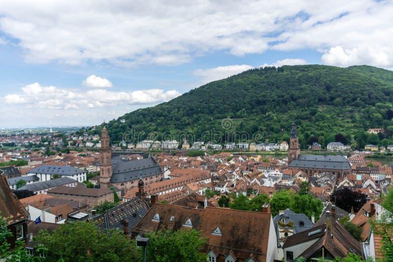 Miasto widok Heidelberg z kościół w Baden-Wurttemberg przy Neckar Niemcy fotografia royalty free