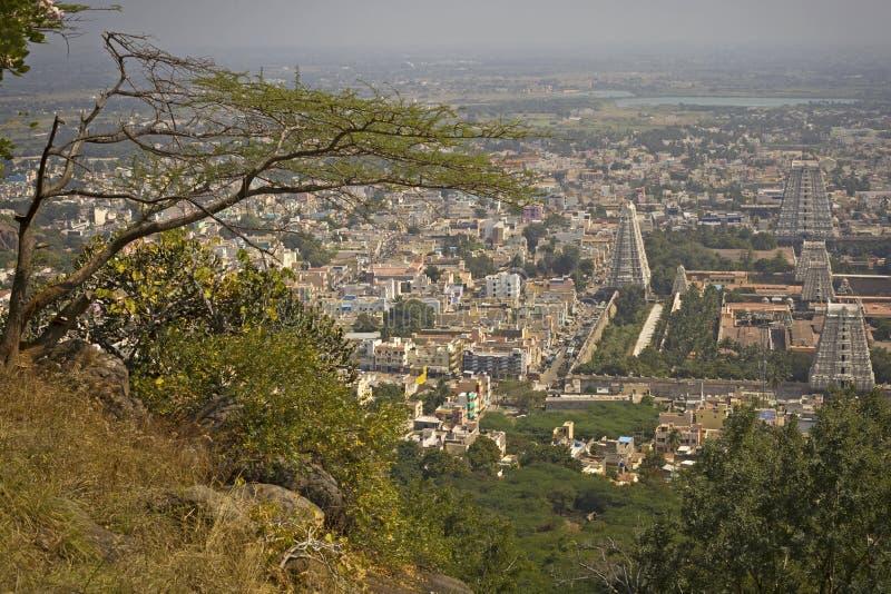 Miasto widok miasto Tiruvanumalai, Tamilnadu, India zdjęcie royalty free