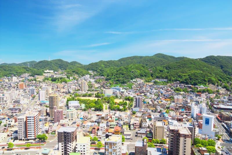 Miasto widok Moji w Kitakyushu, Japonia zdjęcie stock