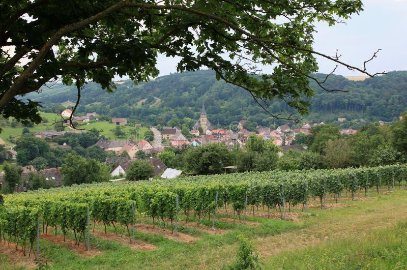 Miasto widok nad Laudenbach fotografia stock