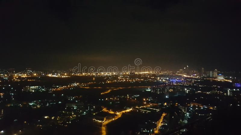 Miasto widok w Pattaya przy piękną nocą fotografia royalty free