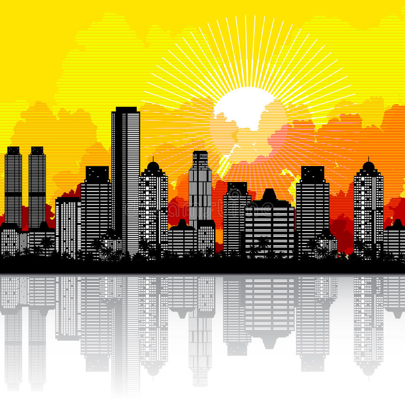 miasto wschód słońca