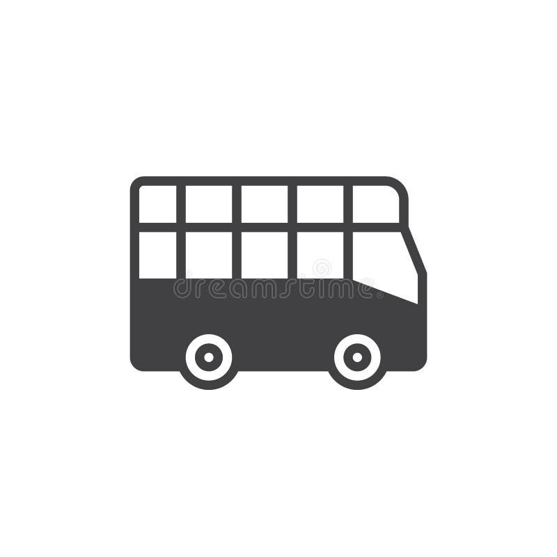 Miasto wycieczki autobusowej ikony wektor, wypełniający mieszkanie znak, stały piktogram odizolowywający na bielu royalty ilustracja