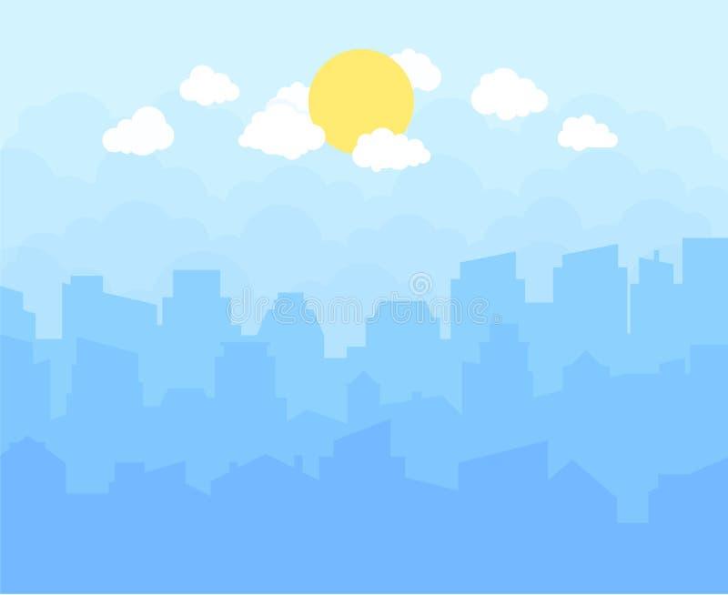 Miasto z niebieskim niebem, biel chmurami i słońcem, pejzaż miejski linii horyzontu płaski panoramiczny wektorowy tło royalty ilustracja